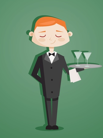 Retro cartoon waiter Stock Vector - 9817728