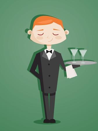 číšník: Retro cartoon waiter