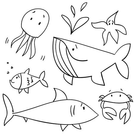 Doodle sea animals Vector