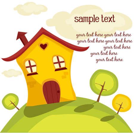 Cute house, vector illustration Stock Vector - 9929914