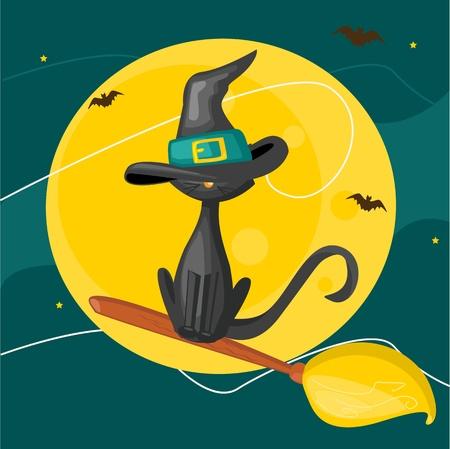 Cat on a broom, halloween background Vector