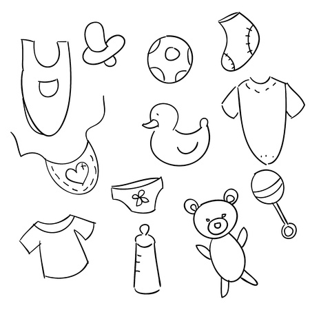 clip art draw: Hand drawn baby icons, vector illustration