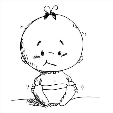 bocetos de personas: Esbozo de beb� de vector, ilustraci�n