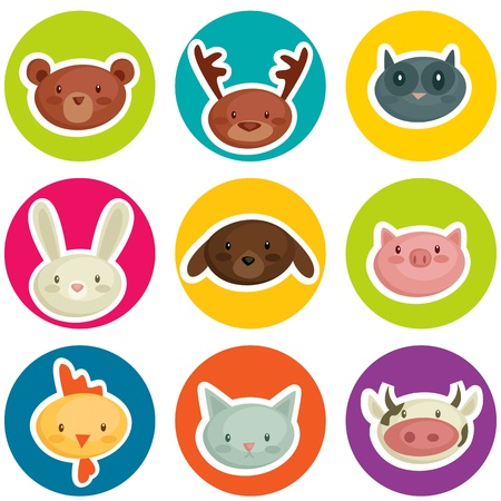 cute clipart: cartoon animal head stickers, vector illustration Illustration
