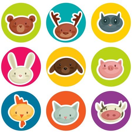 schattige dieren cartoon: Cartoon dierlijke hoofd stickers, vector illustratie