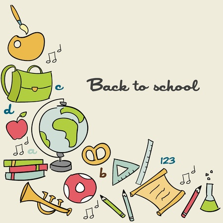 school bag: Back to school background, vector illustration