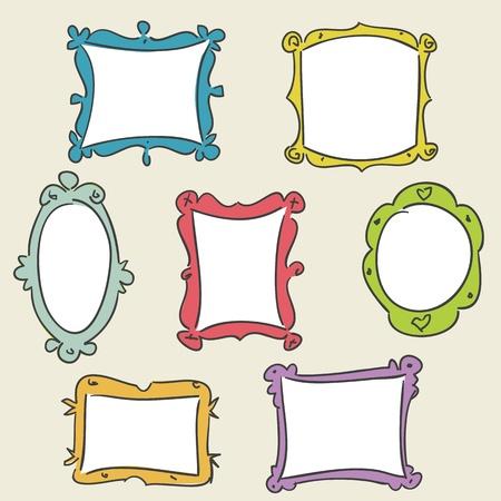 Marcos dibujados a mano, ilustraci�n de vectores Foto de archivo - 10347287