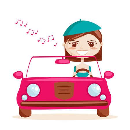 auto illustratie: Retro meisje rijden, vector illustratie Stock Illustratie