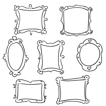 Hand drawn frames, vector illustration