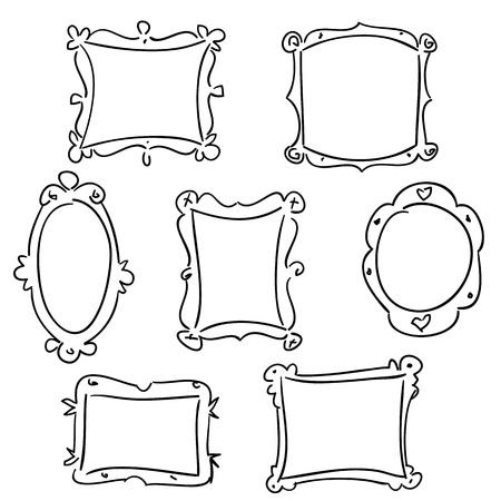 Hand drawn frames, vector illustration