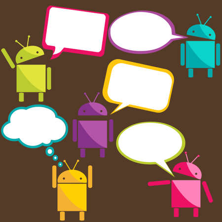 android robot: Robots talking stickers, vector illustration