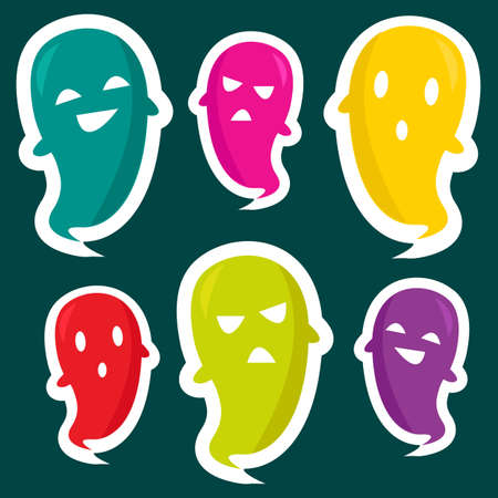 Cute ghost stickers,  illustration Stock Vector - 10475531