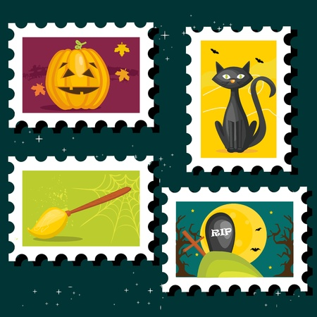 Halloween postal stamps, illustration Vector