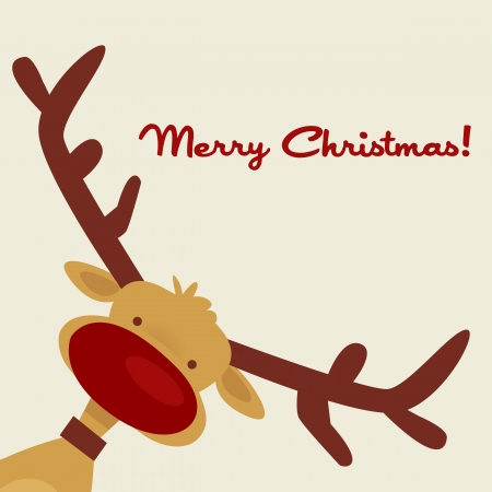 Christmas card with reindeer, vector illustration