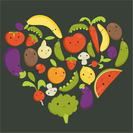 apple slice: Fruits and vegetables heart shape, vector illustration