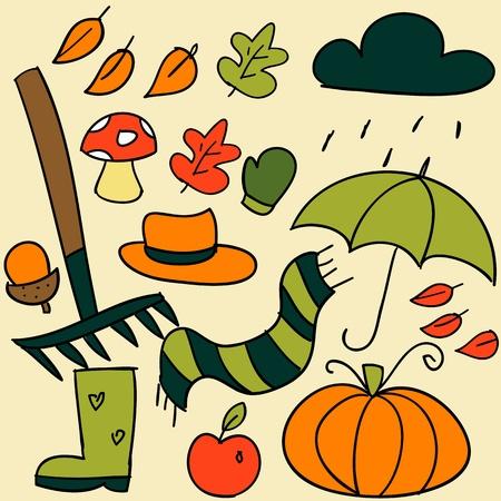 rain boots: Autumn elements. Illustration
