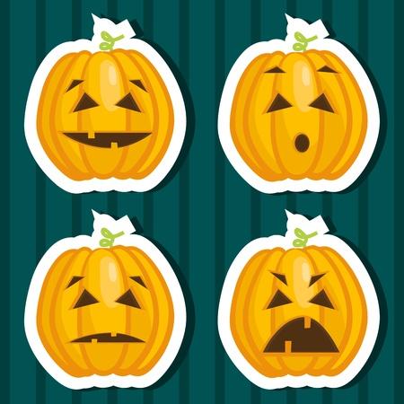 Halloween pumpkin stickers. Vector