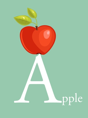grammar: Colorful abc, letter A illustration