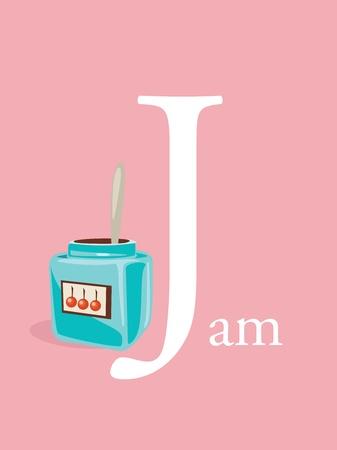 Colorful abc, letter J, illustration Vector