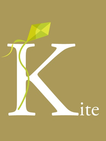 Colorful abc, letter K, illustration