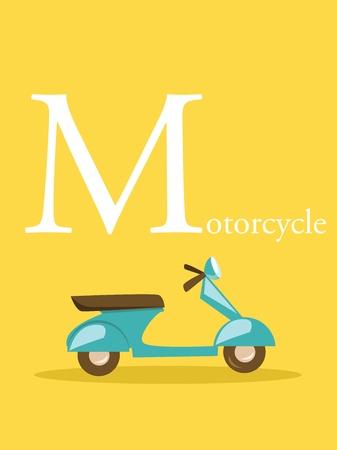 Colorful abc, letter M, illustration Vector