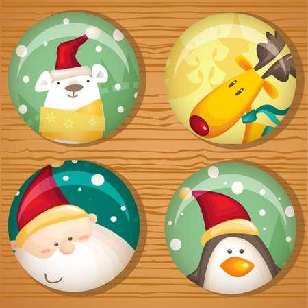 pinguinos navidenos: Linda ilustraci�n de insignias de Navidad