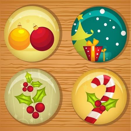 Cute Christmas badges, vector illustration Stock Vector - 10857042