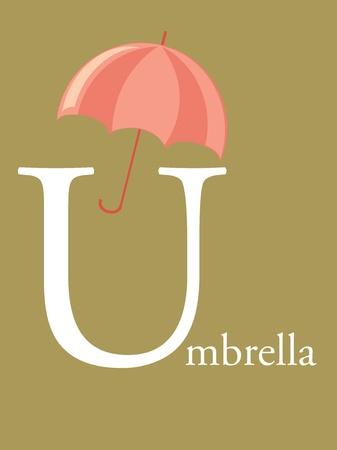 grammar school: Colorful abc, letter U illustration