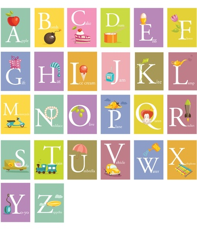 english text: Colorful abc letters illustration Illustration