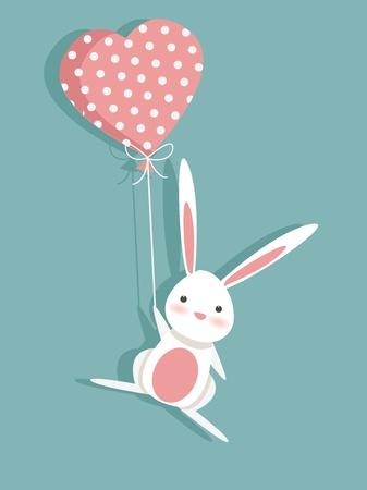 lapin blanc: Carte de la Saint-Valentin avec un lapin, illustration mignonne Illustration