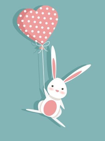 cartoon rabbit: Valentine card with a cute bunny, illustration