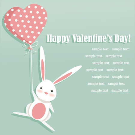 pink balloons: Valentine card with a cute bunny, illustration