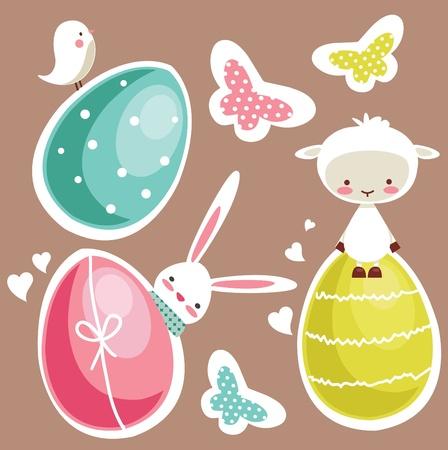 colored eggs: Cute Easter design elements, vector illustration