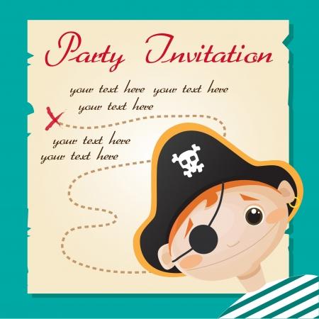 sombrero pirata: Partido Pirata invitación, ilustración vectorial Vectores