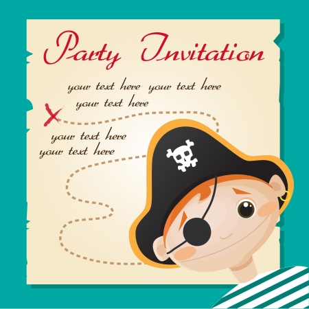 Pirate party invitation, vector illustration Illustration