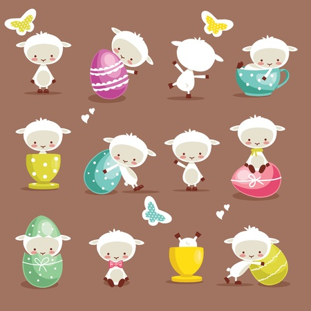 spring lambs: Cute easter character set, vector illustration Illustration