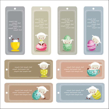 Cute easter labels, vector illustration Vector