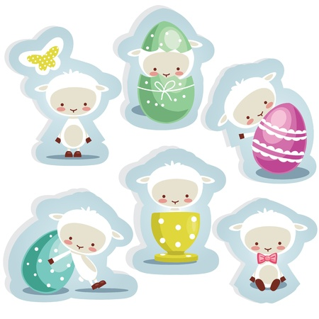 lamb cartoon: Cute easter stickers  isolated, vector illustration