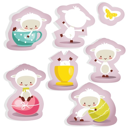Cute easter stickers isolated , vector illustration Vector