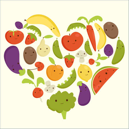 cherry tomato: Fruits and vegetables heart shape, vector illustration