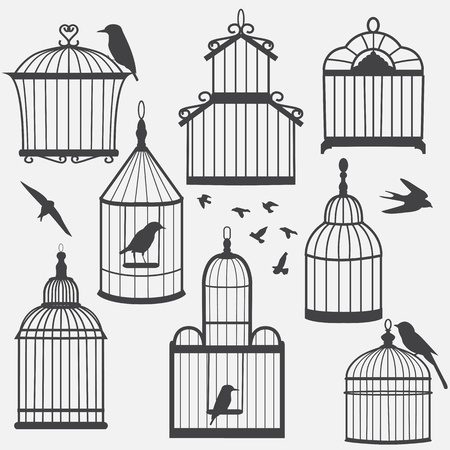 Bird cages silhouette, vector illustration 일러스트