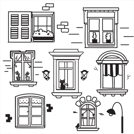Hand drawn windows, vector illustration