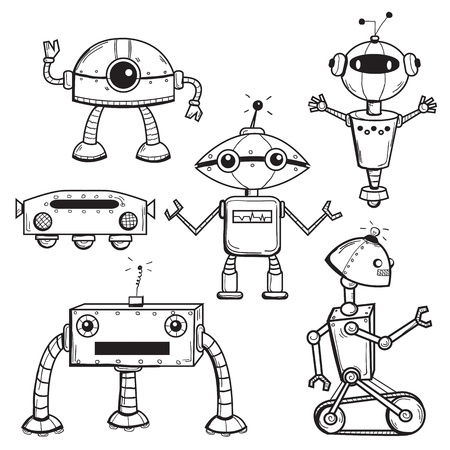 Robots collection, vector illustration 일러스트