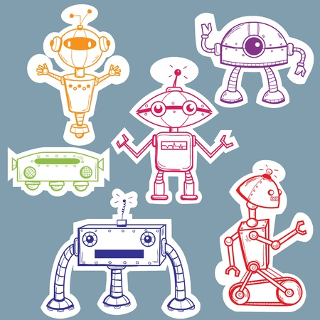 robot vector: Robot stickers, vector illustration