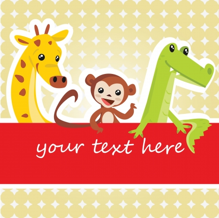 giraffe frame: Cartoon animal card Illustration