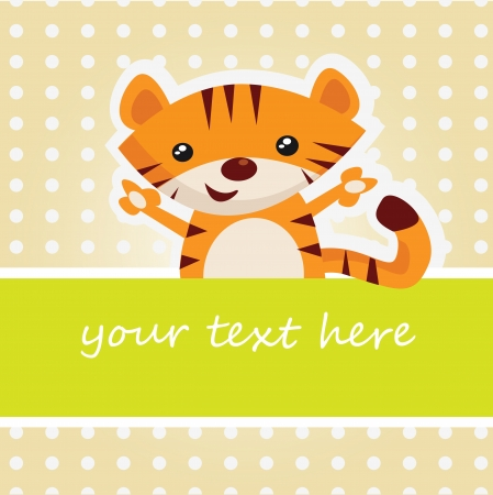 Cartoon tiger card Vector