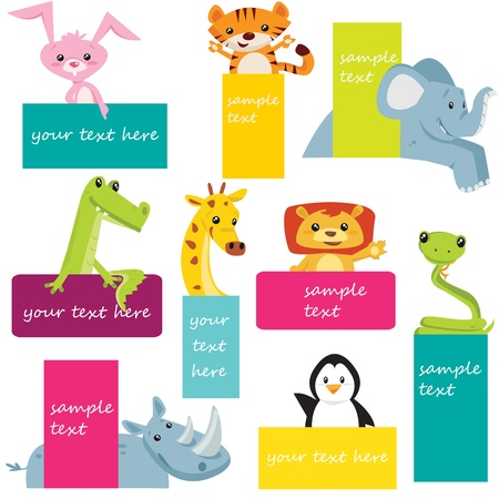 Set of animal labels Vector