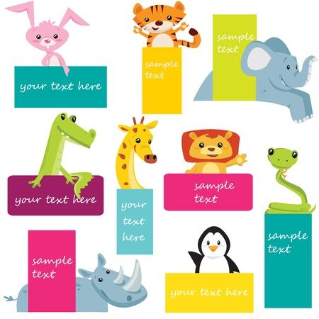 croc: Set of animal labels Illustration