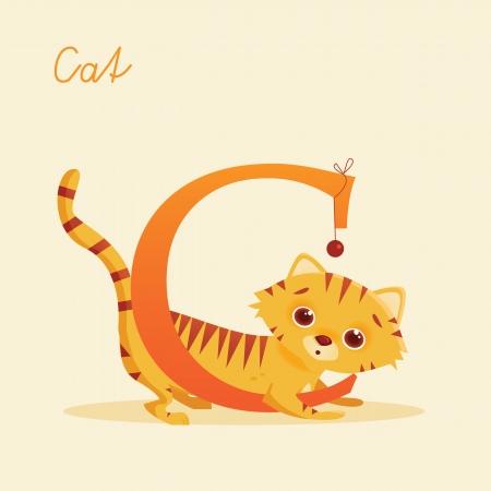 Animal alphabet with cat, vector illustration Vector