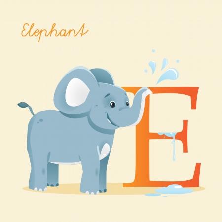 Animal alphabet with elephant Stock Vector - 13994462